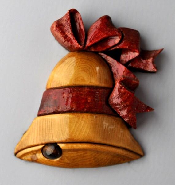 Wood Intarsia Christmas Bell Ornamental Decoration