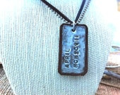 Hand Stamped Dog Tag, Personalized, Leather and Metal Necklace