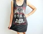 Black Sabbath Heavy Metal Hard Rock T Shirt Womens Tunic Long Tank Top Dress Women Size M