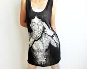 Lil Wayne Weezy Hip Hop Rap Soul Indie Punk Rock Black Long Tank Top Tunic Mini Dress Size M