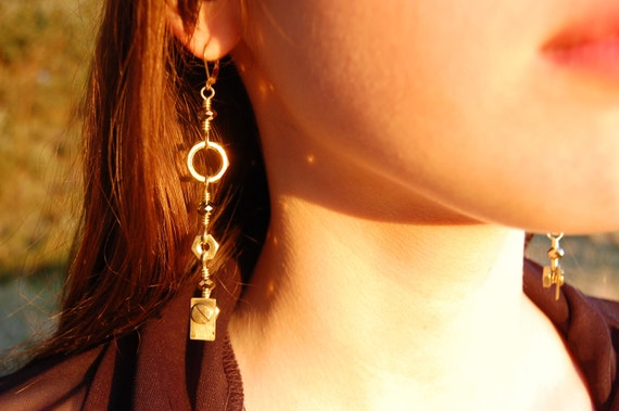 Industrial Dangle Earrings-- Recycled Brass Hardware and Sparkly Czech Beads LONGER VERSION