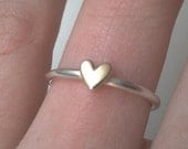 Little Sweetheart stacking ring - smooth sterling silver ring  with solid 9ct or 14ct gold heart...Valentines