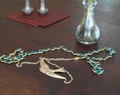 Turquoise, Gold, and Bird Long Necklace