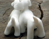 Dog Sculpture White Porcelain, MOTHER & SON, Unique Ceramic Dog Figurine Dog Clay Dog Ornament Dog Unique Dog OOAK