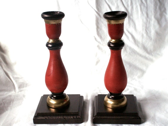 Red Wooden Candlesticks, Pair of Vintage Taper Candle Holders, Handpainted with Black & Gold Trim