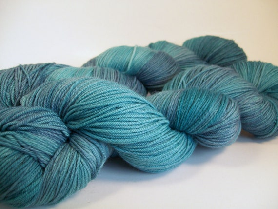 SALE  Blue in the Face on Lolo 75/25 SW Merino Nylon Hand dyed fingering weight sock yarn