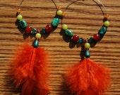 semi-precious beaded feather earrings