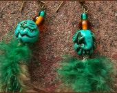 turqoise elephant feather earrings