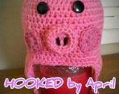 CUSTOM ORDER kids crochet lil pig hat