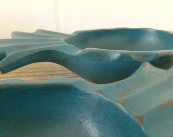 Pineapple Decorative Wood Bowls Painted Teal