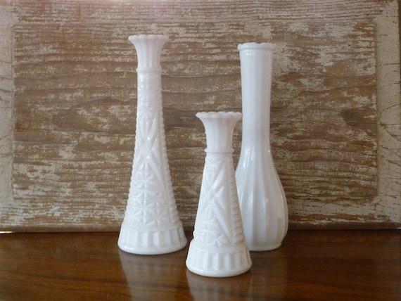 Vintage Milk Glass Bud Vases