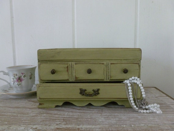 Jewelry Box Painted a Distressed Sage Green