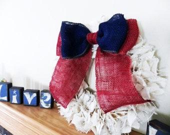 Burlap Bow Two-Tone Curtain Tie Back Wreath Decoration Americana