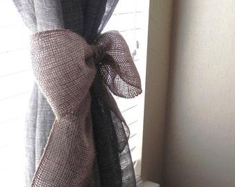 Burlap Bow SET OF 2 Curtain Tie Back Wedding Decoration Wreath Decoration