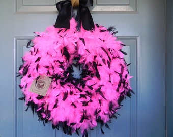 HOT PINK Feather Wreath - 21 inch - Bachelorette Birthday Baby Shower Other Sizes and Colors Available