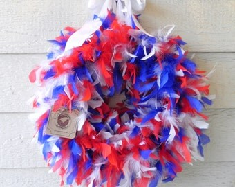 Feather Wreath - Patriotic - 4th of July  - Memorial Day Wreath