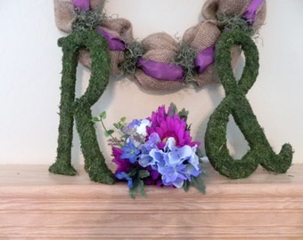 Moss Letters - Set of 2 (12'') Any Letters or Symbols Rustic Wedding Moss Monogram (Other Sizes available) A - Z