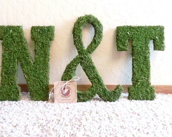 Moss Letters Rustic Wedding- SET OF 3 pieces -Moss Monogram (Other Sizes available) A - Z