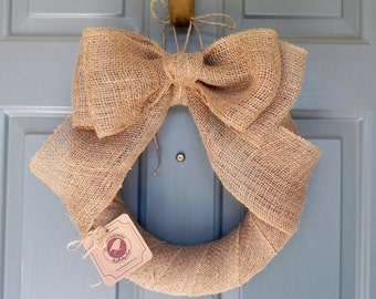 Burlap Wreath Natural with Large Double Bow (top) Elegant and Simple