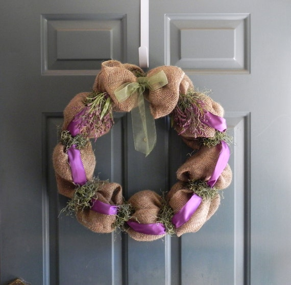 Burlap Wreath Summer Wild Flower Bubble Wreath