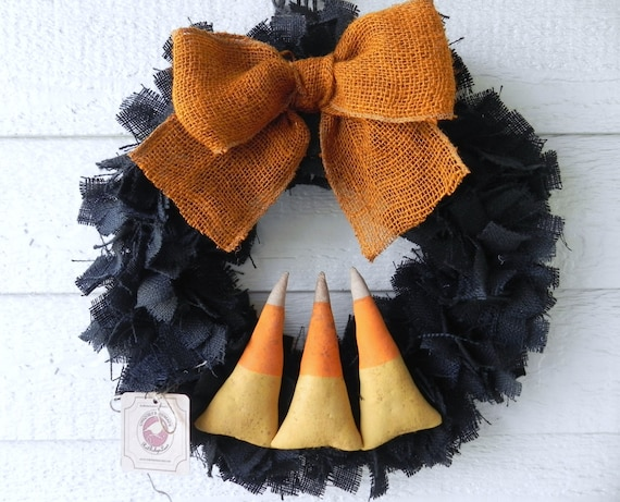 Burlap Halloween Wreath - CANDY CORNS Swamp Water Line