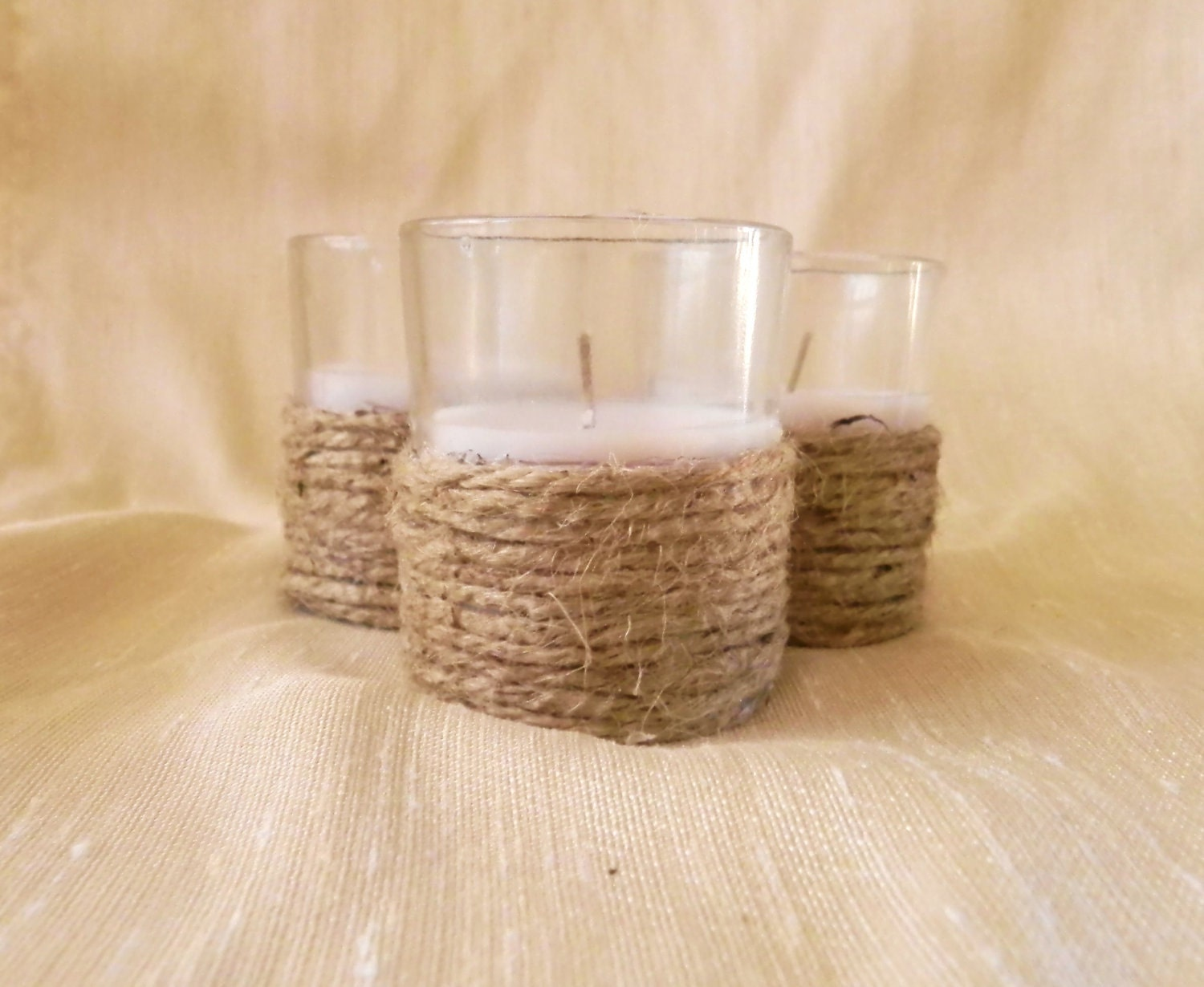 Jute candle set of 3 wedding table decoration by redrobynlane for Bougies decoration table