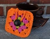 Orange Granny Square Tea Bag Cozy