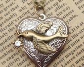 Steampunk Bird Locket Necklace Vintage Style Original Design