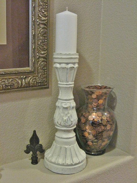 Sale Tall Wood Pillar Candle Holder Salvaged Upcycled Shabby
