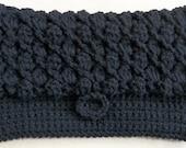 Black Crocheted Clutch with Elegant Slope Design