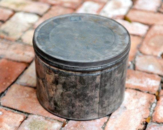 Large Tarnished Antique Tin