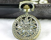 1PCS Antique Bronze Flower Pocket Watch Necklace Pendant (additional free shipping)