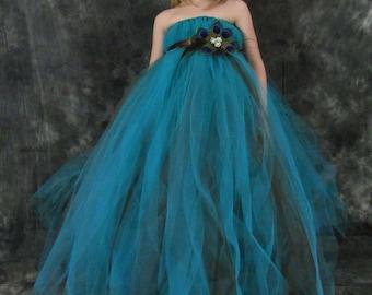 Peacock Tulle Girls dress