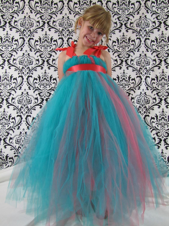 Wedding Tulle Dresses girls tutu tulle dress coral flower girl teal flower