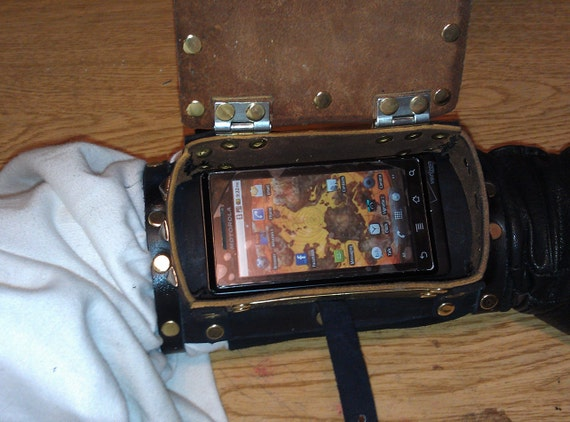 Leather Steampunk Arm Bracer for Droid or iPhone,