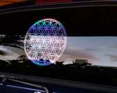 """Flower of Life Decal 12""""  in Holographic or Wood Grain"""