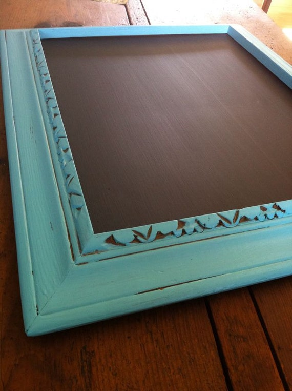hand painted turquoise chalkboard 11x13 unique upcycled frame custom sizes available