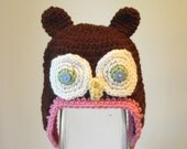 Pink and Brown Owl Earflap Beanie Ready to Ship
