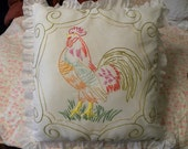 Rooster Embroidered by Hand Pillow
