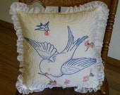 Bluebird of Happiness Embroidered Pillow