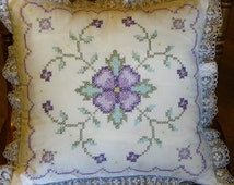 Cross Stitch Pillow, Purple Flower Pillow, Decorative Pillow, Choice of TWO