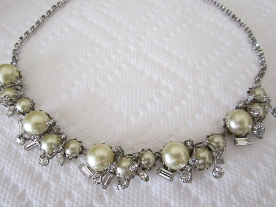 Vintage Hattie Carnegie rhinestone and faux pearl necklace