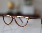 Vintage  Cat Eye FRAME Golden Brown/ Gold. CLEARANCE. Gift Certificates Apply