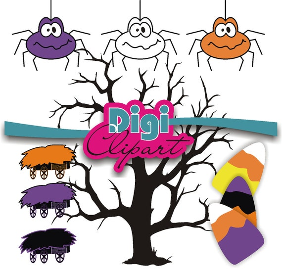 Spooky Tree Hay Ride Spider Candy Corn Clip Art - INSTANT DOWNLOAD