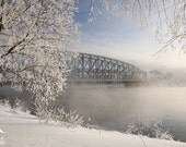 Photo print of winter landscape in Finland, with bridge over foggy river, print to frame for your wall