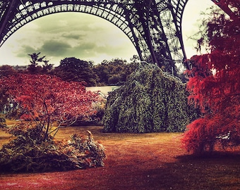 Paris wall art Eiffel tower surreal photo, red trees, Paris, France, dream red romantic shabby chic Paris interior decor