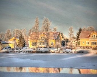 Dreamy winter decor, frozen lake Finland, winter landscape, with snowy houses reflected in water, large wall art