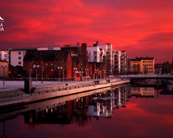 Photo print of red sunset in the city of Oulu, high quality print, Finland