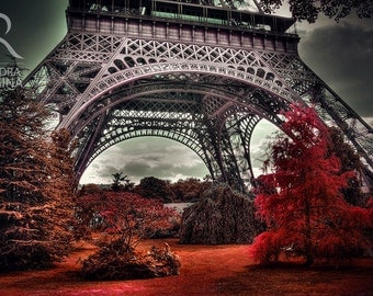 Paris wall art, Eiffel tower surreal photo, red trees, Paris, France, surreal wall interior decor