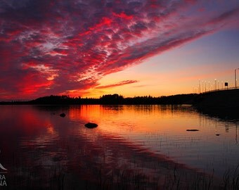 Sunset lake wall art decor, dramatic sunset in Finland over a lake, surreal photo, print you can frame for your wall